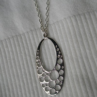 Silver necklace- Oval necklace- Bubble necklace- Silver filigree necklace- Silver circle necklace- Long silver necklace- Spring accessory