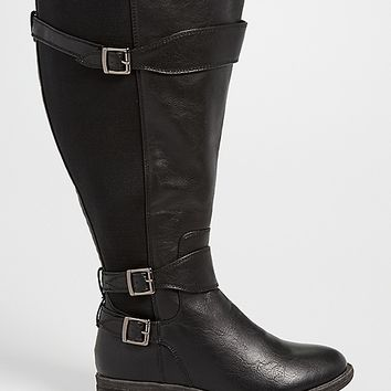 Shelby faux leather and gore extra wide calf boot in black | maurices