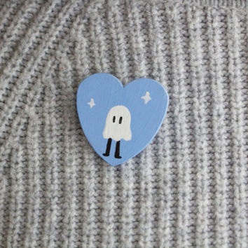 Hand Painted Ghost Pin Blue Wooden Heart Brooch Pinback Button