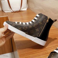 LV Louis Vuitton Women High Tops Shoes Boots White Lace Up Black Tail