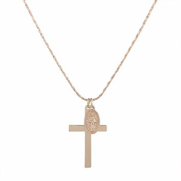 Eutychus Saint Cross Necklace - Gold