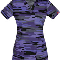 Camo Print Scrub Top for Women