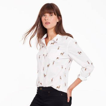 Lucie Cream Stag Classic Fit Shirt   Joules US