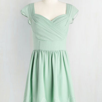 Pastel Short Length Cap Sleeves A-line Let's Reminisce Dress in Sage by ModCloth