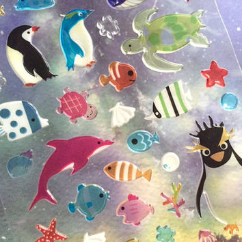 Arctic animal penguin sticker Marine sea Turtles dolphin tropical fish epoxy sticker sea world Aquarium decor ocean theme scrapbook gift