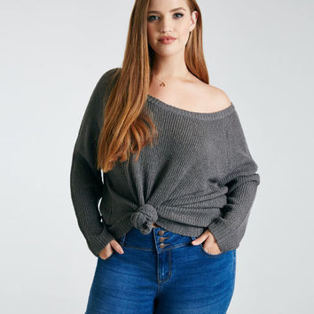 Plus Size Slouchy Off-The-Shoulder Sweater   Wet Seal Plus