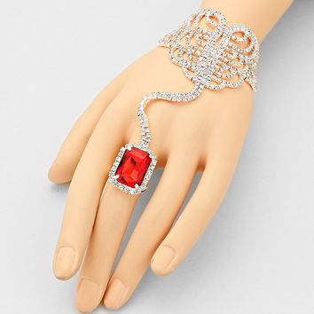 """ Seductive ""  Emerald Cut Swirl Rhinestone Bracelet & Red Crystal Ring Combo On Silver Tone"