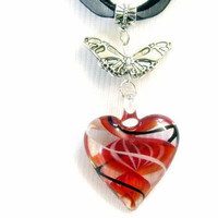 """Glass Hearts Necklace & Earring Set,  Fused Glass Pendant Hearts Lampwork Bead Handcrafted, Valentines Day """"SALE"""""""
