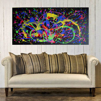 Original Abstract Modern Acrylic Painting on Canvas 48x24 Huge Contemporary Fine Art Wall Decor by Eugenia Abramson