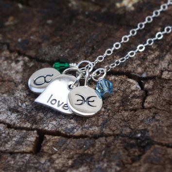 Zodiac Necklace - Personalized Jewelry . Birstone Necklace . Custom Zodiac Signs & Swarovski Birthstones . SOLID Sterling