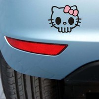 Aliauto Skull Hello Kitty Car Stickers And Decal Accessories for Toyota Ford Chevrolet Volkswagen Golf Honda Hyundai Kia Lada