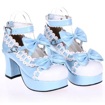 Female spring anime cosplay lolita shoes Sandals women heeled shoes bow high heels lea