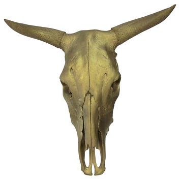 Gold-Painted Cow Skull