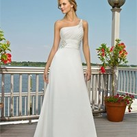 One-shoulder A-line chiffon Beach Wedding Dresses WDB041