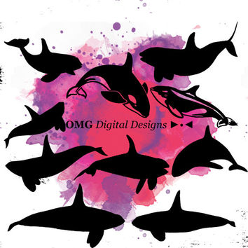10 Whale Digital Clipart, Clipart Design Elements, Instant Download, Black Silhouette Clip art