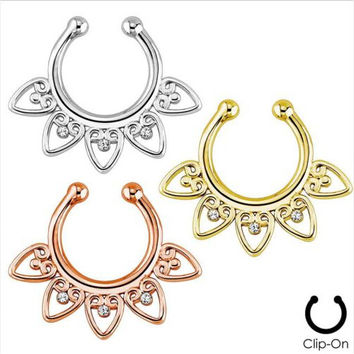 2015 Rushed Body Jewelry Belly Piercing 3 Pcs Fake Septum For Clicker Clip On Non Piercing Nose Ring Hoop Cartilage Tribal Fan