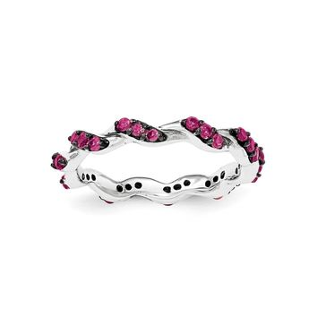 Sterling Silver Rhodium-plated Created Ruby Twisted Eternity Ring
