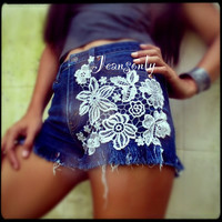 Levi's high waist lace denim shorts by Jeansonly