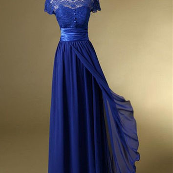 Newest Charming Royal Blue lace Chiffon Prom Dresses OK37