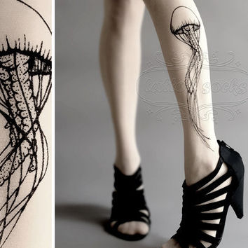 Jellyfish TATTOO gorgeous thighhigh stockings White by tattoosocks