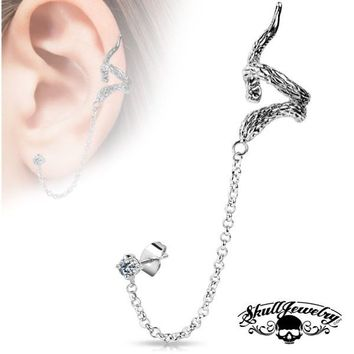 'Forevermore' Snake Ear Cuff w/ Chain Linked Clear Cubic Zirconia set Stud Ear Rings (e006)