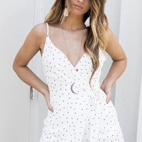 Into It White Polka Dot Wrap Romper