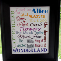 Alice in Wonderland Typography Print. 8X10 Art Print. Character Names.