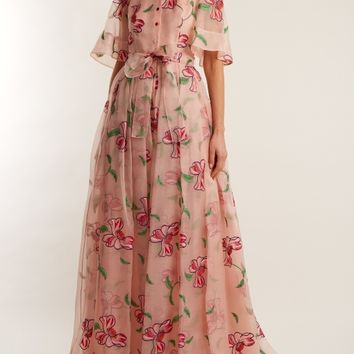 Floral-embroidered silk gown | Carolina Herrera | MATCHESFASHION.COM US