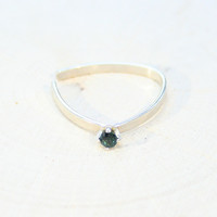 Gemstone Papillon Silver Unique Dainty Ring Handmade to Order