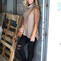 Cowl Neck Sleeveless Sweater - Taupe