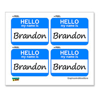 Brandon Hello My Name Is - Sheet of 4 Stickers