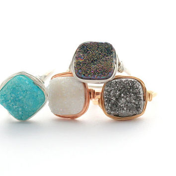 Druzy Cocktail Ring, Cushion Cut in Silver, Gold, Rose, Gemstone Quartz Christmas Gift Ideas