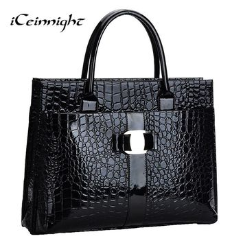 iCeinnight Crocodile Pattern Black Red Leather Bags Women Handbag With Metal Logo bolsa feminina dollar shop online handbags