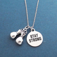 Stay Strong, Boxing Gloves, Silver, Necklace, Birthday, Best friends, Gift, Jewelry
