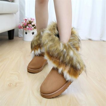 Solid Fur Warm Woman Boots