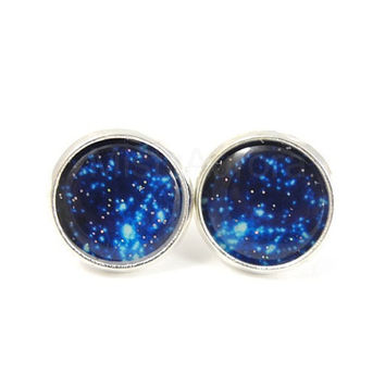 Galaxy Earrings -  Blue Star Cluster - Blue Sky - Space Jewelry - Blue Glitter Jewelry - Free Worldwide Shipping
