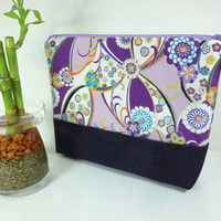 Cosmetic Bag, Travel Pouch, Padded Cosmetic Pouch Japanese Kimono Cotton Fabric Chrysanthemum Flowers Purple