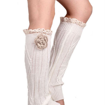 Retro White Lace Floral Decorated Knitted Leg Warmers
