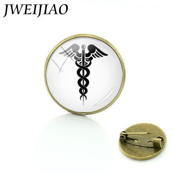 Brooches Caduceus Medical Symbol Medal Pin Promotion Upscale Silhouette Keepsake Brooch Rn Md Doctor Physician Assistant T324