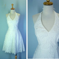 Vintage Lace Dress / 1980s White Halter Dress / s-m