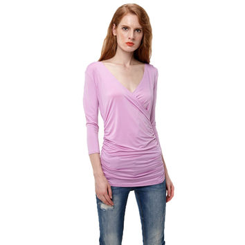 Sexy Women Deep V-Neck Wrap Tops 2017 Summer Casual Tee Shirt  Ruched Woman 3/4 Sleeve T-shirts