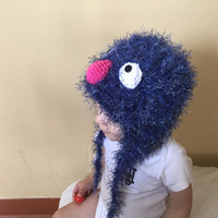 Handmade crochet Super grover inspired disney character hat , super grover beanie, hat for kids, super grover hat, photo drop.