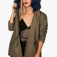 Plus Amy Bright Contrast Faux Fur Parka | Boohoo