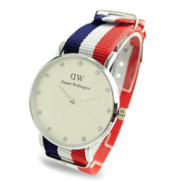 DW Nylon Strap Wristwatch (Red, White and Blue)