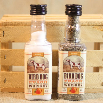Mini Liquor Bottle Salt & Pepper Shakers Upcycled from Bird Dog Whiskey Mini Liquor Bottles