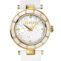 Women's VERSUS by Versace 'Logo' Leather Strap Watch, 34mm - White/ Gold