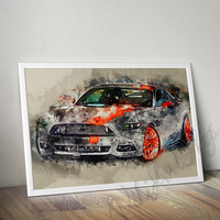 Ford Mustang Watercolor Art Poster, Ford Mustang Print, Auto Art Poster