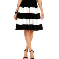Sale-black And White Striped A Line Skirt