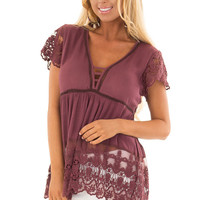 Deep Plum Short Sleeve Top With Sheer Lace Detail