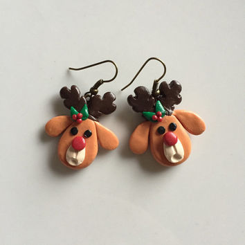 Christmas Earrings, Polymer Clay Christmas Earrings | reindeer earrings | holidays earrings | deer earrings | Christmas gifts| cute earrings